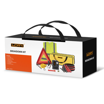 Roadside Assistance Car Emergency Kit + First Aid Kit Rugged Tool Bag  Contains Jumper Cables,Tools,Reflective Safety Triangle - Buy Car Emergency