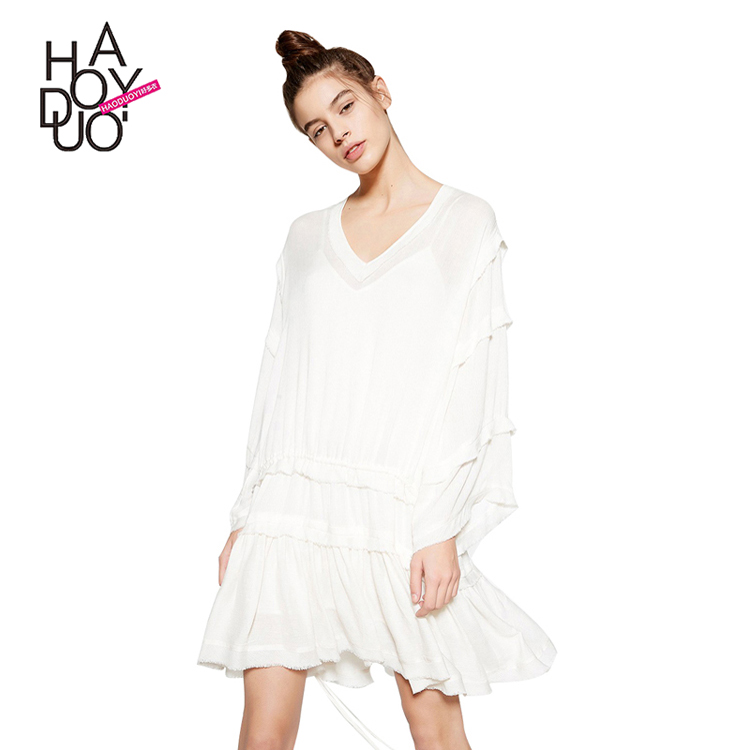 HAODUOYI Solid White Cute Dress Women Brief Ruffle Sheer Long Sleeve Dress Casual Basic Female Mini Vestidos for Wholesale