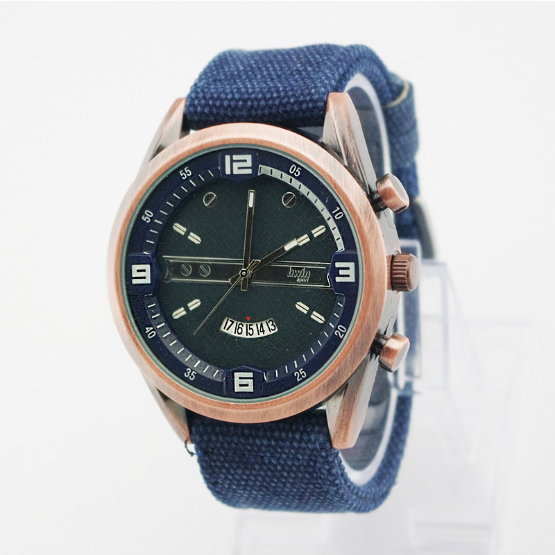 Canvas fashion sports watches bronze calendar men's quartz watch MT118924