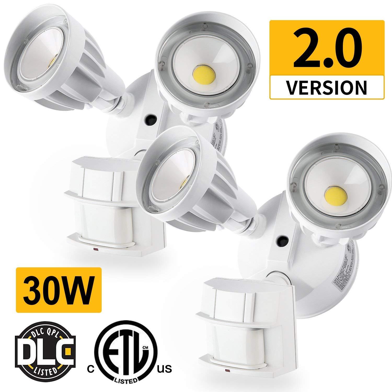 Amico 2 Pack LED Security Light, 30W (200W Equivalent) Dual-Head Motion Sensor Outdoor Lights, 2550lm, 5000K Daylight, Waterproof IP65,ETL & DLC Listed Floodlights, Adjustable Head Lighting - White