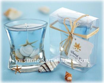 Nautical seashell gel tealight holder as wedding favor - Velas de gel ...