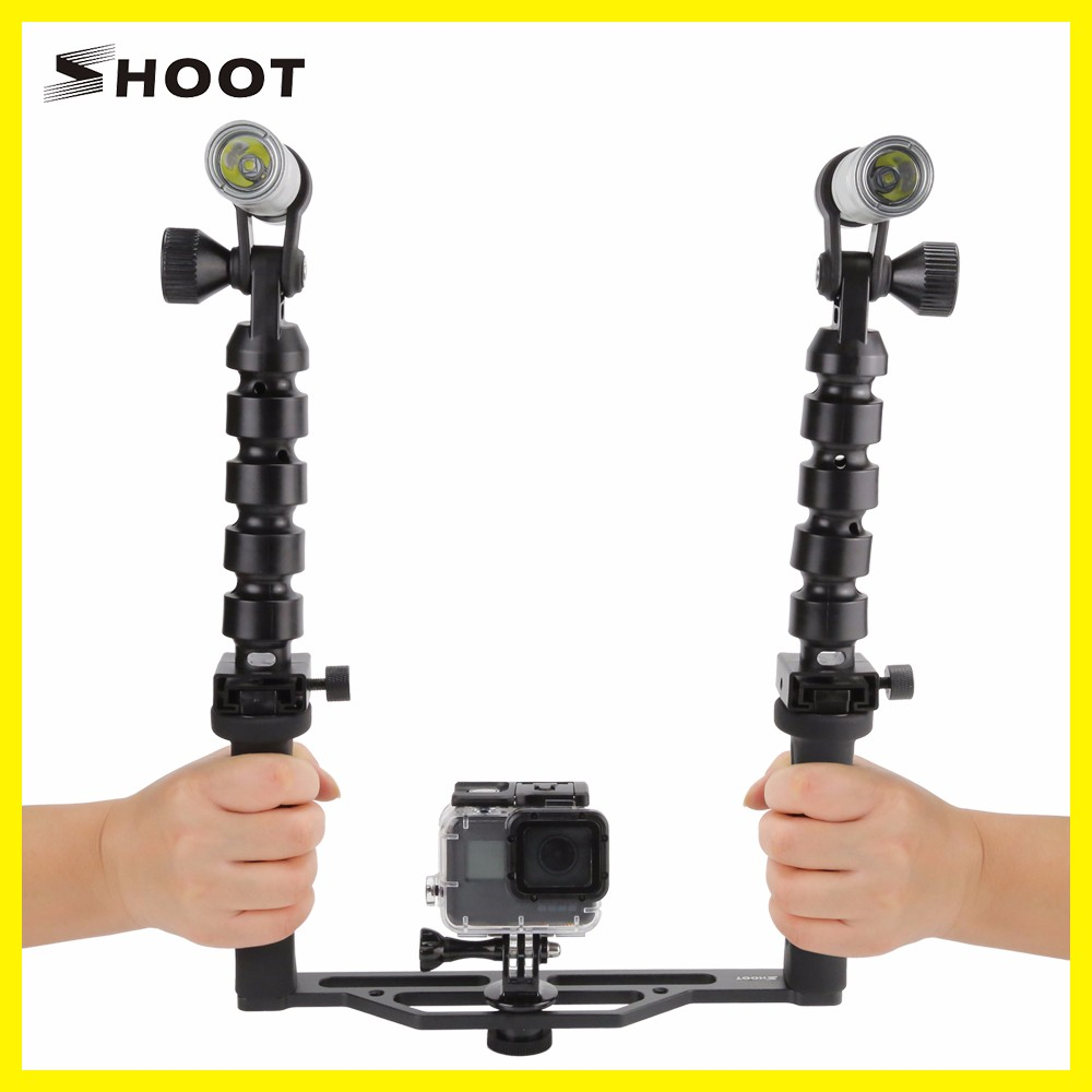 SHOOT New LED Rechargeable FlashlightsTwo-Handle Wateproof for gopro Photography Torch