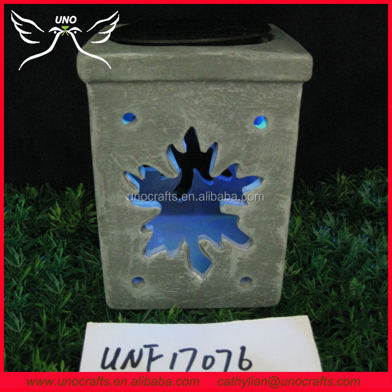 Square pot lantern with solar sun light yard art ceramic decor
