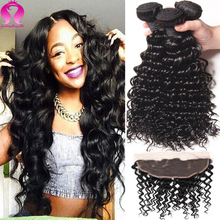 Bundles With Closure Brazilian Virgin Hair Deep Wave With Frontal Ear To Ear 4pcs Lot Tissage