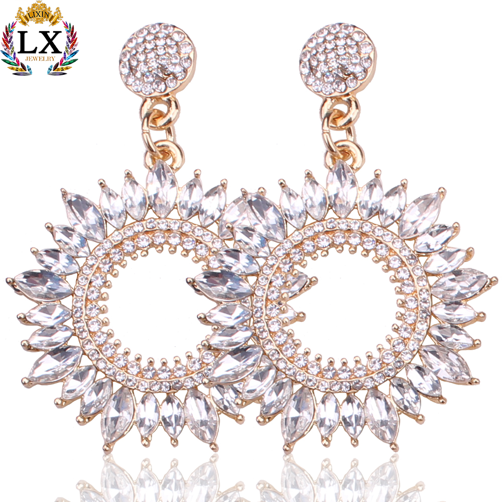 ELX-00132 elegant charm wholesale diamond jewelry rhinestone crystal hoop earrings