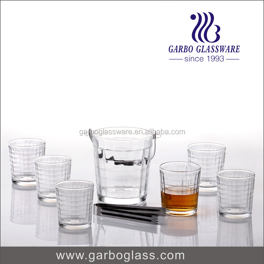 Glass Wine Bucket with 6pcs Cup & ice tongs Suitable to use in pub,restaurants.