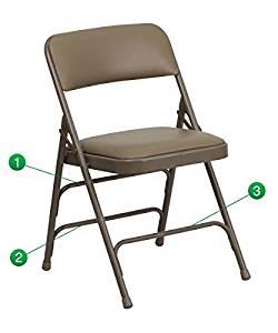 Flash Furniture Hercules Series Curved Triple Braced & Quad Hinged Beige Vinyl UpholsteRed Metal Folding Chair [HA-MC309AV-BGE-GG] by Flash Furniture