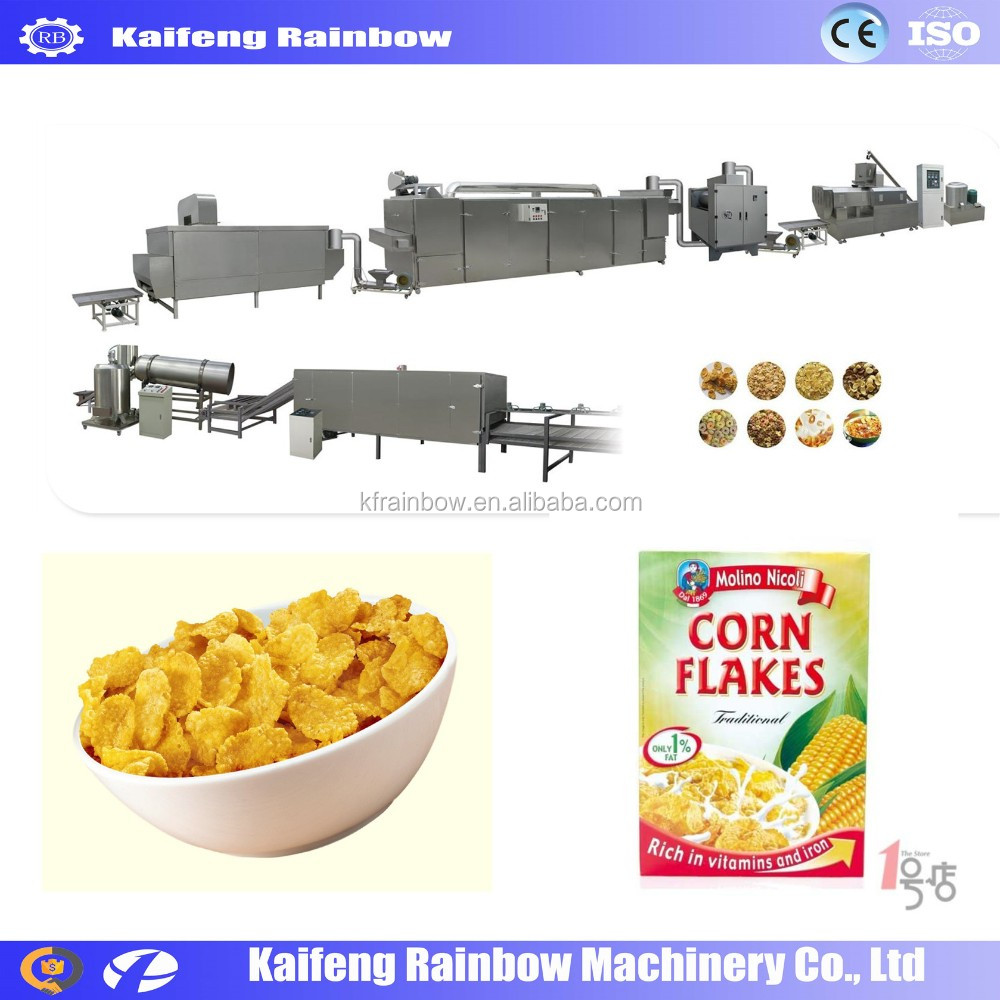 Factory Price Automatic Grain Flake Making Machine extruder corn maize flakes breakfast cereals machine/cornflakes making machin