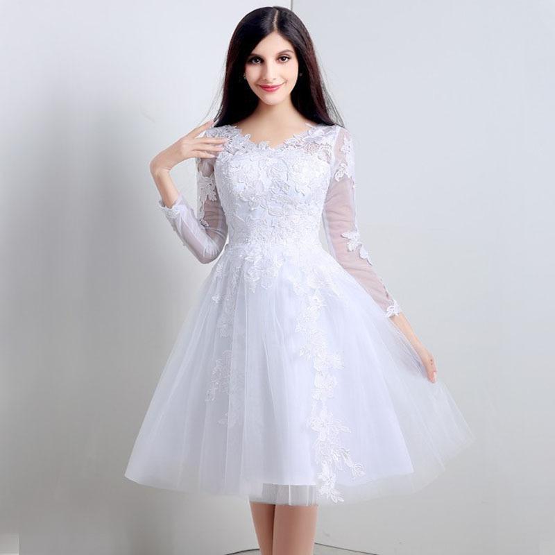Short Sleeve Simple Wedding Dress: Real Photo Shooting Vestido De Noiva Curto Long Sleeve V