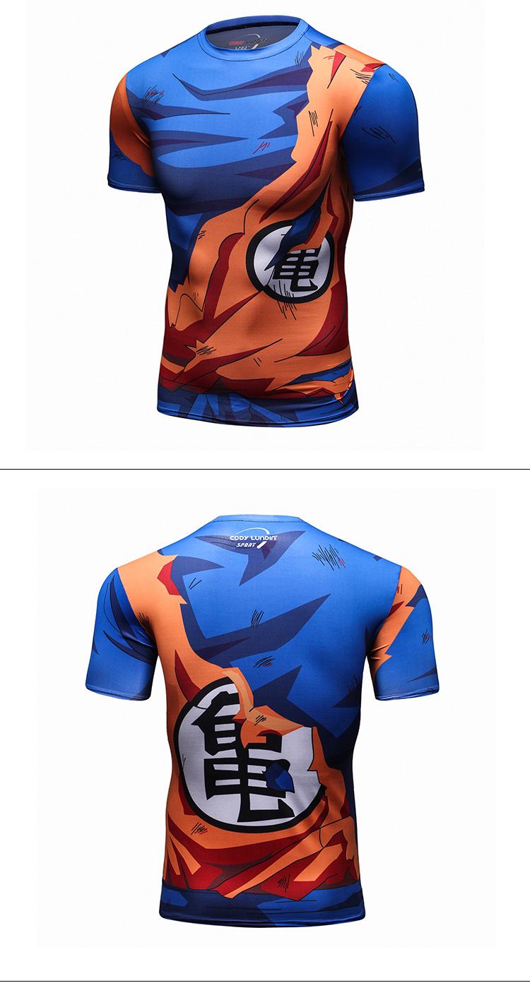 Homens De Compressão de fitness Impressão Sublimação Dragon Ball T Camisa MMA Rash Guard