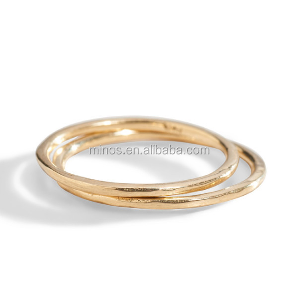 Hot Sale Stainless Steel Dainty 14k Gold Stacking Midi <strong>Ring</strong>