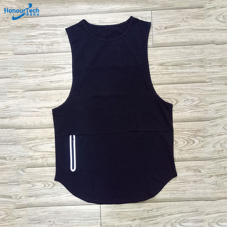 Factory Cheap Mens Sleeveless Scoop Bodybuilding Fitness Blank Gym Tank Top with Zip Pocket фото
