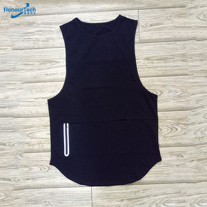 Factory Cheap Mens Sleeveless Scoop Bodybuilding Fitness Blank Gym Tank Top with Zip Pocket