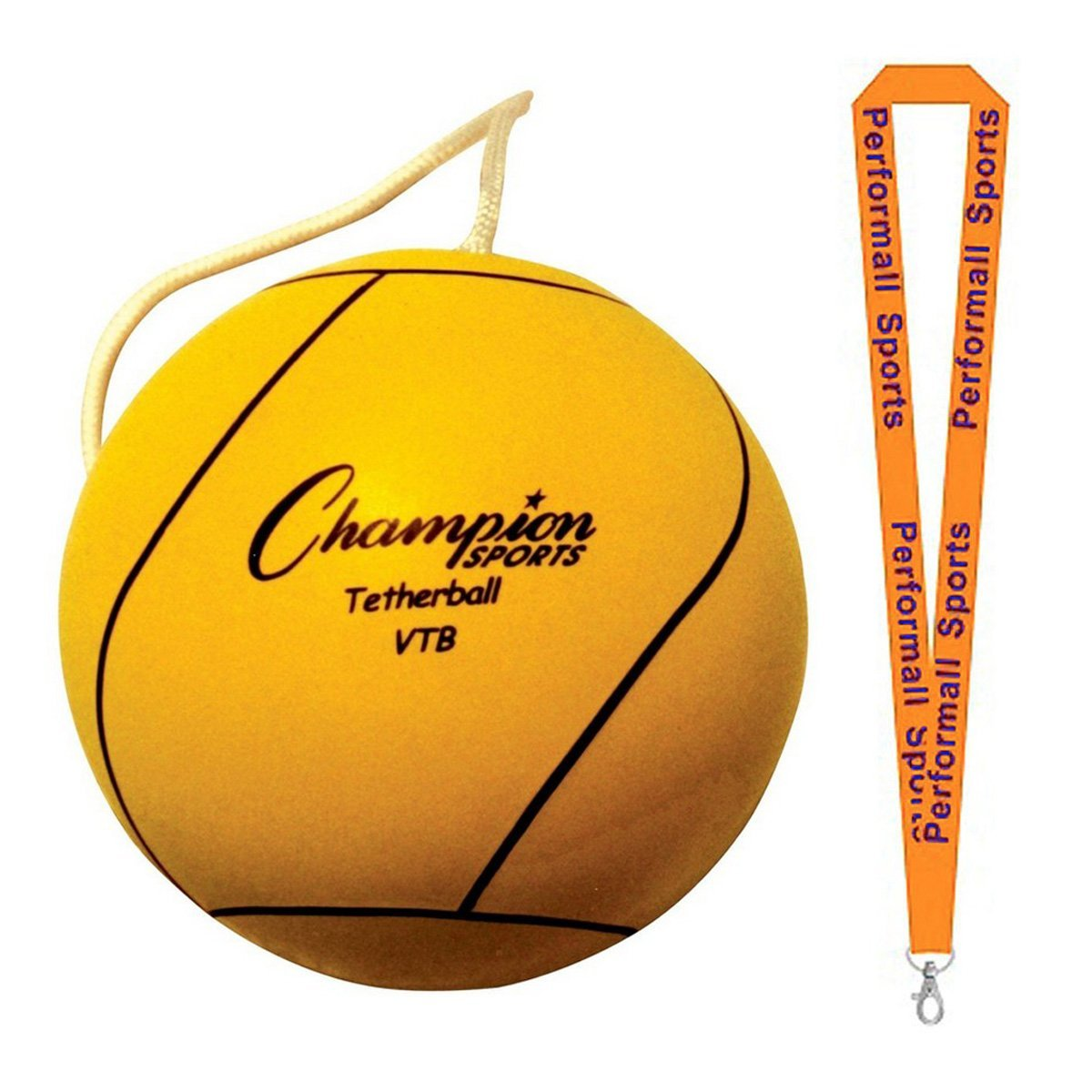 Champion Sports Bundle: Optic Yellow Tether Ball Yellow with 1 Performall Lanyard VTB-1P