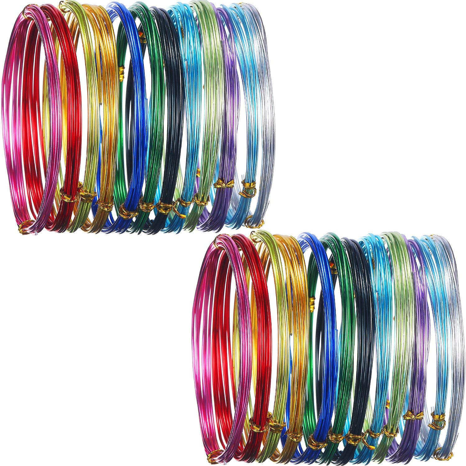 Hestya 24 Rolls Multi-Colored Aluminum Craft Wire, Flexible Metal for Art Creation and Jewelry Ornaments, 15 Gauge and 20 Gauge