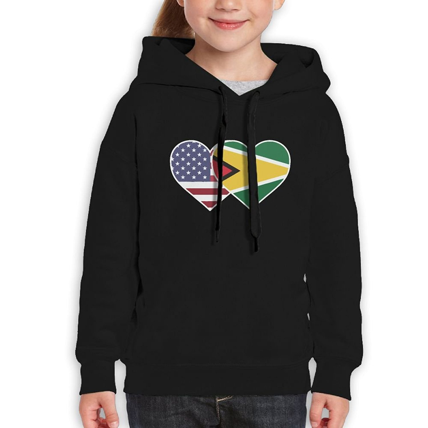 Pethe4d Guyana USA Flag Twin Heart Children's Pullover Hooded Sweatshirt With Hat