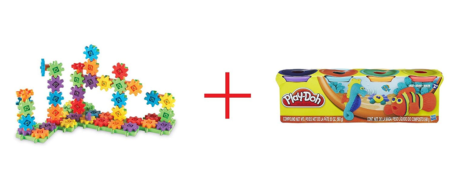 Learning Resources Gears! Gears! Gears! Deluxe Building Set 100 Pieces - Primary Colors and Play-Doh 4-Pack - Bold Colors - Bundle