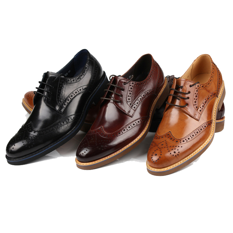 2015 Black /Brown Mens Shoes Business Fashion Lace-Up Dress Genuine Leather Flats Shoes Male Formal Wedding Oxfords Size 37-44