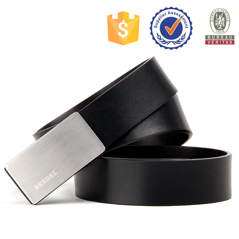 NO MOQ factory retail plate buckle genuine leather <strong>belt</strong> for men