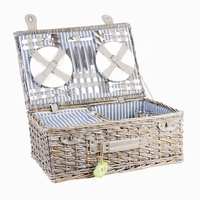 Insulated hot selling professional picnic basket stock wicker gift basket with Lid