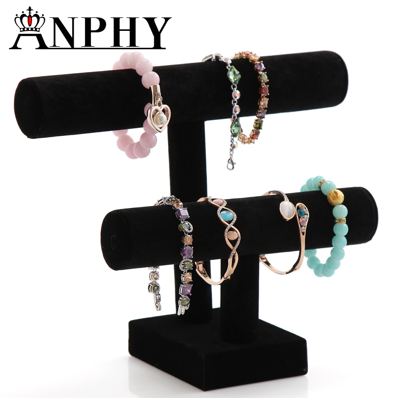 ANPHY A182 Two Layer Black Round Tube Fancy Jewelry Display Stand Bracelet Bar