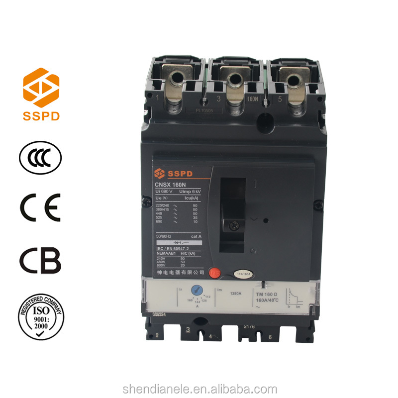 New Product CNSX 160amp MCCB with Shunt Trip Coil Circuit Breaker Manufacturer