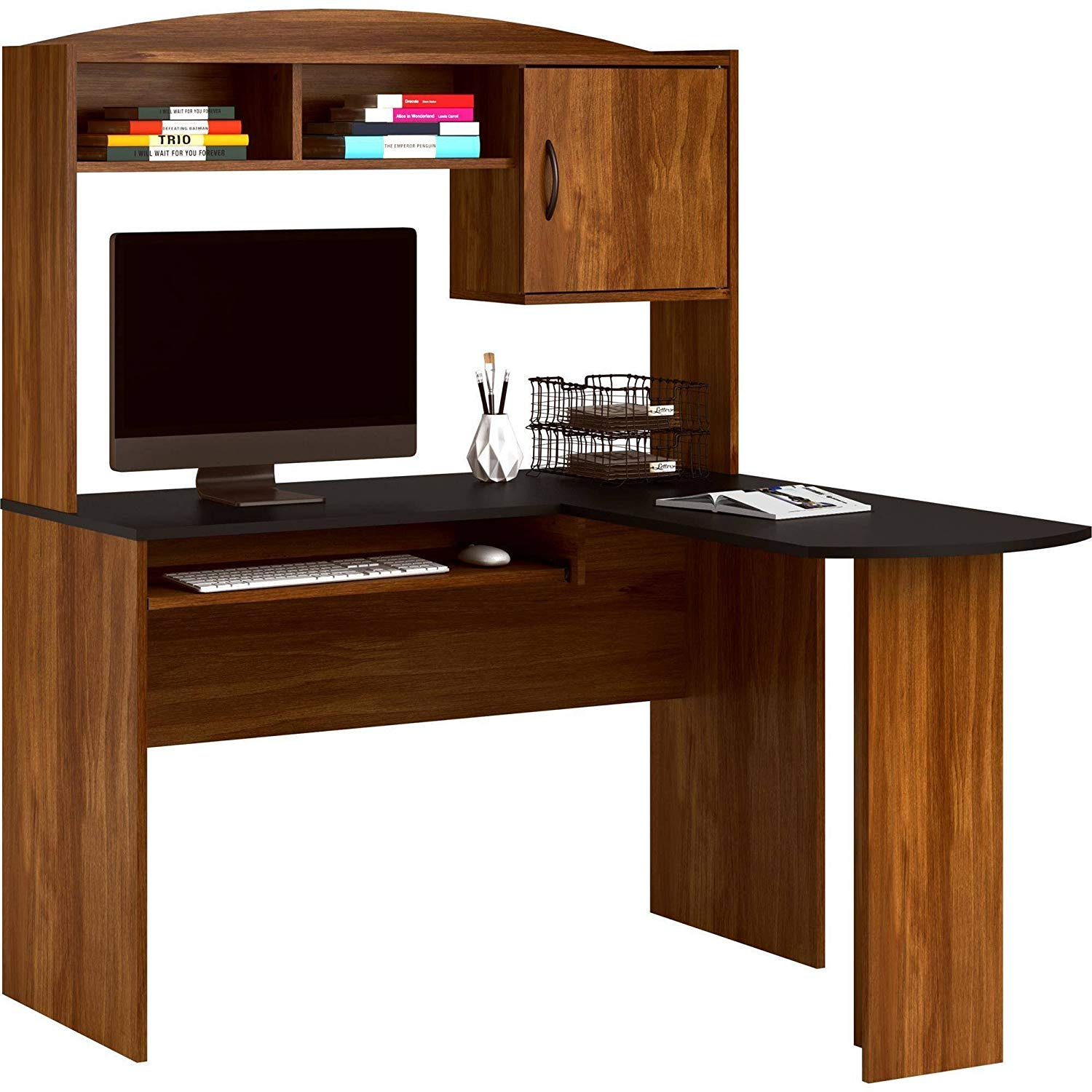 Multi-Functional L-Shaped Desk with Hutch Made of Wood, Storage Cabinet and Two Shelves, Slide-Out Keyboard Tray, Made to Fit in a Corner, Brown/Black + Expert Home Guide