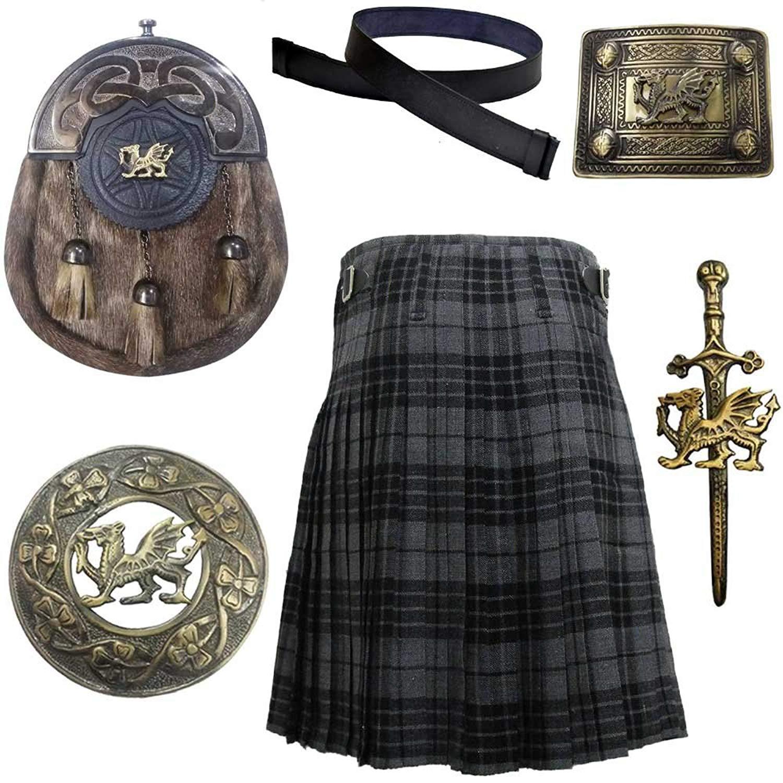 Scottish & Highland Kilt Various Tartans with Leather Sporran,Kilt Belt Belt,Fly Plaid Brooch,Belts Buckle Kilt Pin