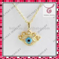 Blue evil eye pendant necklace,gold luck gold plate chain necklace,fashion design jewelry for man/woman