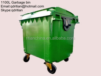 1100l Mobile Garbage Container/waste Container With 4 Wheels