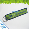 wholesale cheap fabric embroidered customized double sided key chains/ keychain