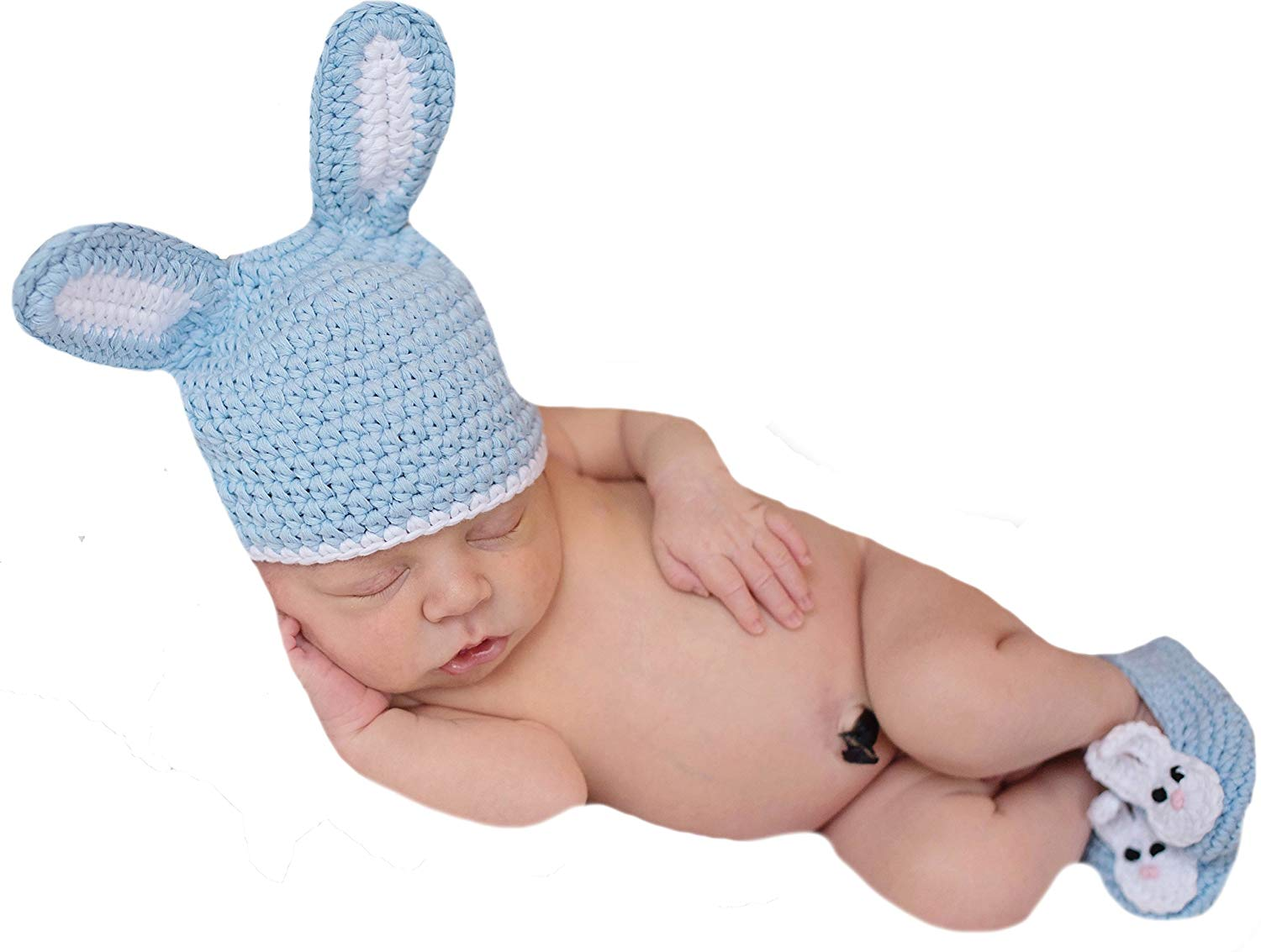 87fac7aefcb Get Quotations · Melondipity Blue Bunny Hat and Booties Set