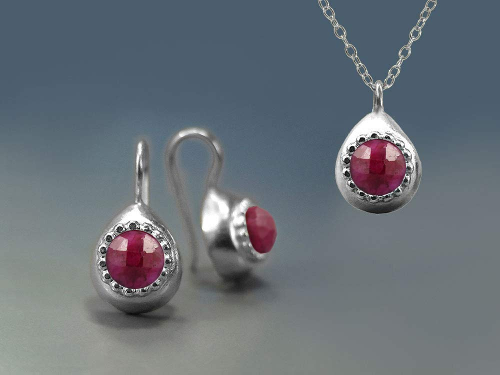 Handmade Jewelry Set Unique Elegant Teardrop Earring Necklace For Women Sterling Silver Precious Ruby Red Gemstones July Birthstone Jewelry Gift Ideas For Her Rubies Jewelry Gift Box Included