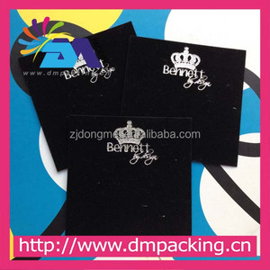 PVC covered with black velvet for earring display with imperial crown