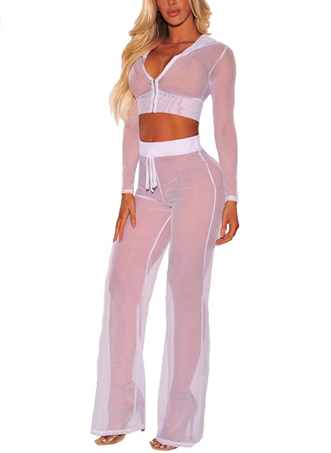 66a3dfc9d5 Get Quotations · Women See Through Sheer Mesh Hoodie Crop Tops and Legging  Pants Sexy 2pcs Bikini Swimsuit Cover