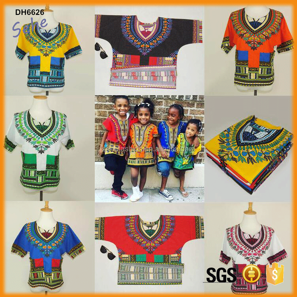 readymade cotton kids children dashiki shirts for many ages