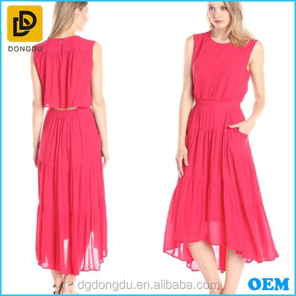 Latest fashion red chiffon elegant long evening Dress for women