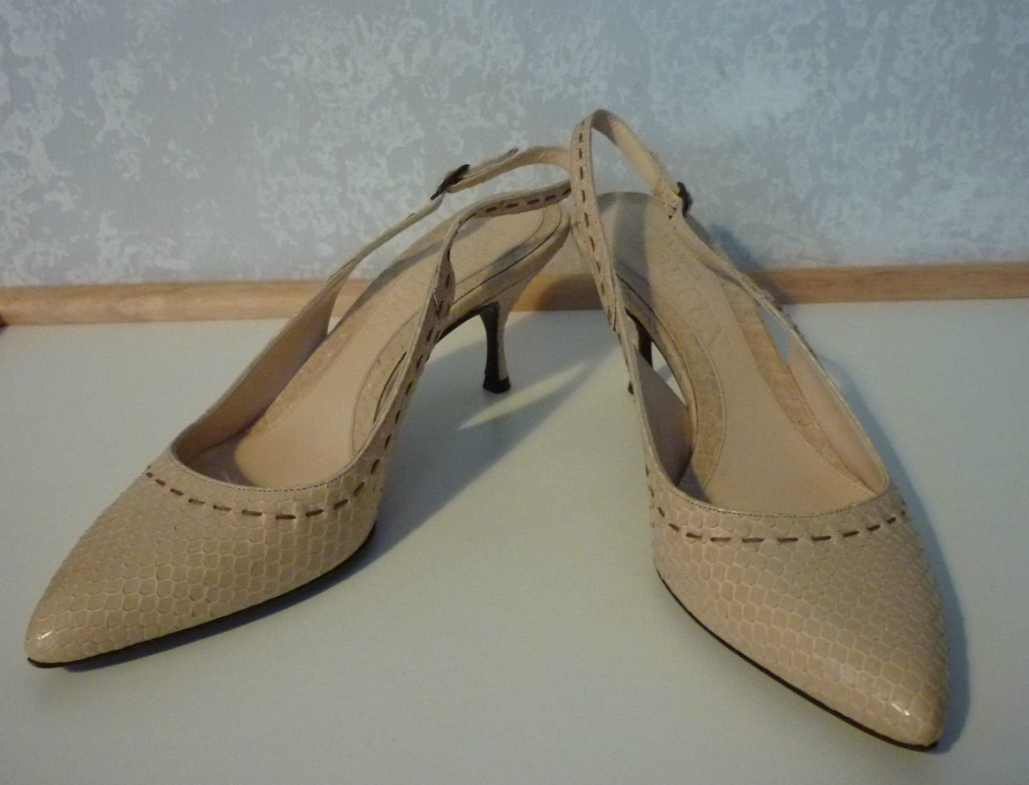 ALEXANDER McQUEEN Shoes - Beige snake skin sling back shoes Size 37
