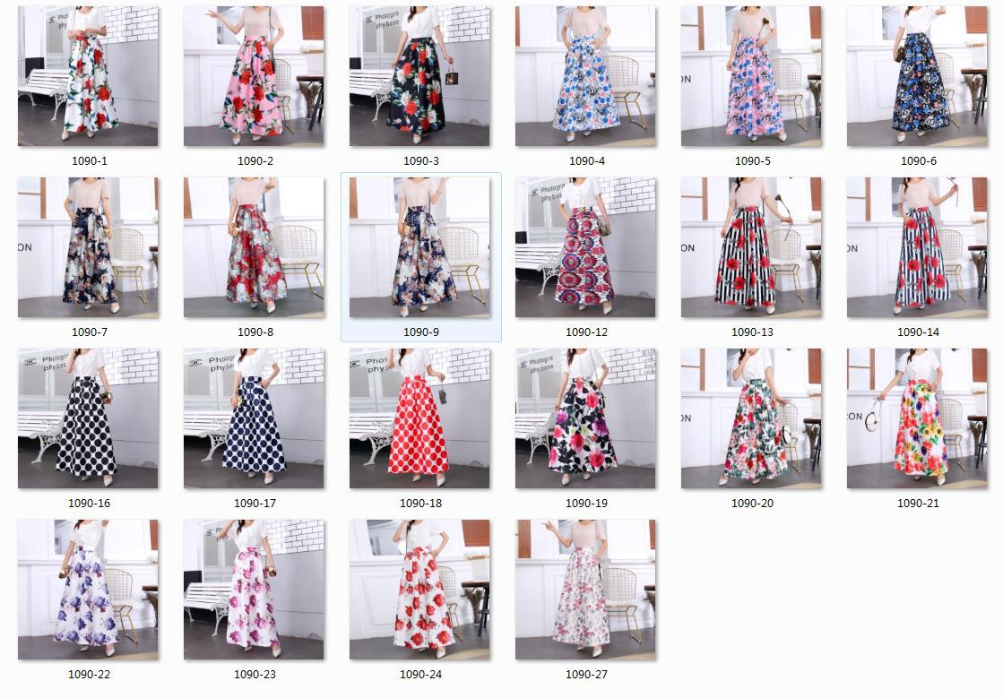 Summer Skirts Womens Jupe Longue High Waisted Pocket Long Skirt Vintage Rok Floral Striped Black Maxi Skirt Swing Plus size