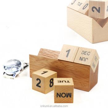 Modern Stylish Wooden Desktop Cubes Perpetual Calendar For Desk