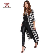 2015 Windbreaker Women Trench Coat Punk style Long Plaid Shirt Slim Fashion Trench Coat Casual Maxi Coats Female casaco NC-726