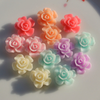 Rose Charms Flat Back 15mm Acrylic Resin Rose Flower Bead No Hole Colorful Loose Spacer Rose for Girls Bracelet Necklace Jewelry