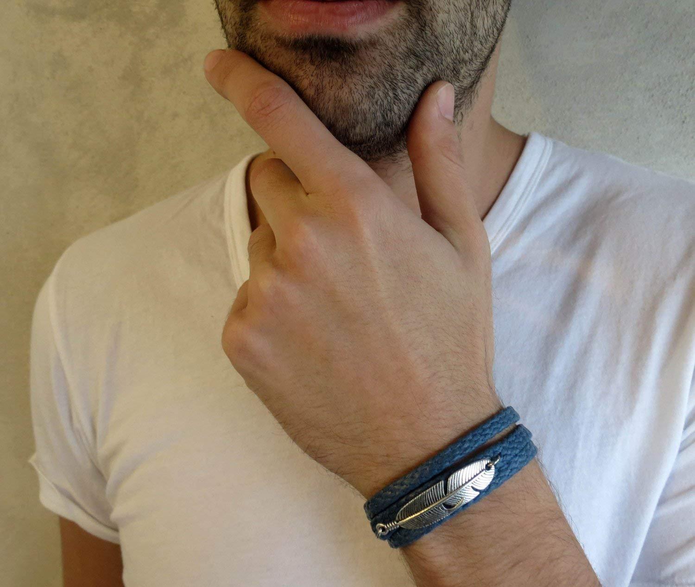 Handmade Wrap Blue Fabric Feather Bracelet For Men By Galis Jewelry - Wrap Bracelet For Men - Blue Beacelet For Men