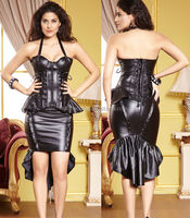 2014 instyles thick fabric black faux rubber Bustiers leather corset dress full set