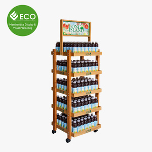 High Quality Wood Plate Display Shelf With Wheels For Drink Promotion