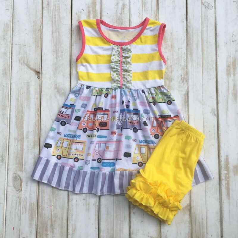 2017 new yellow car go to school children clothing sets kids girls boutique outfits