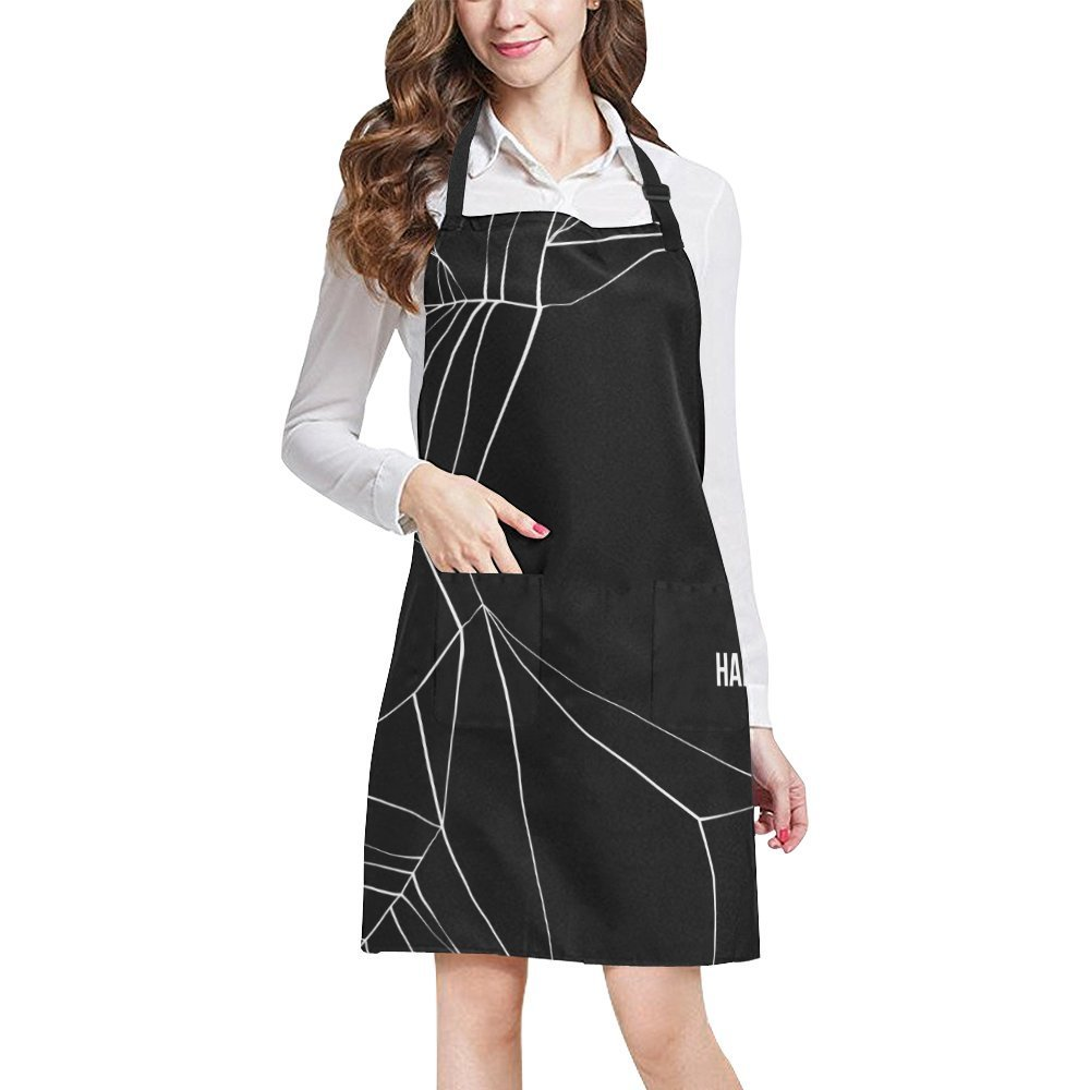 InterestPrint Home Kitchen Apron for Women Men with Pockets Spider Web Adjustable Bib Apron for Cooking Baking Gardening Large Size