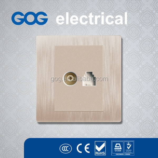 GOG electrical G20 Series Gold Color Metal Frame 1 Gang TV socket and 1 Gang Telephone Socket Rj11 Coaxial socket