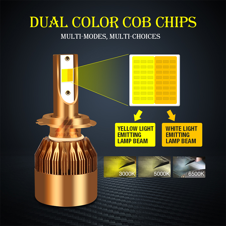 Dual colors CS h4 led headlight 6500k yellow white