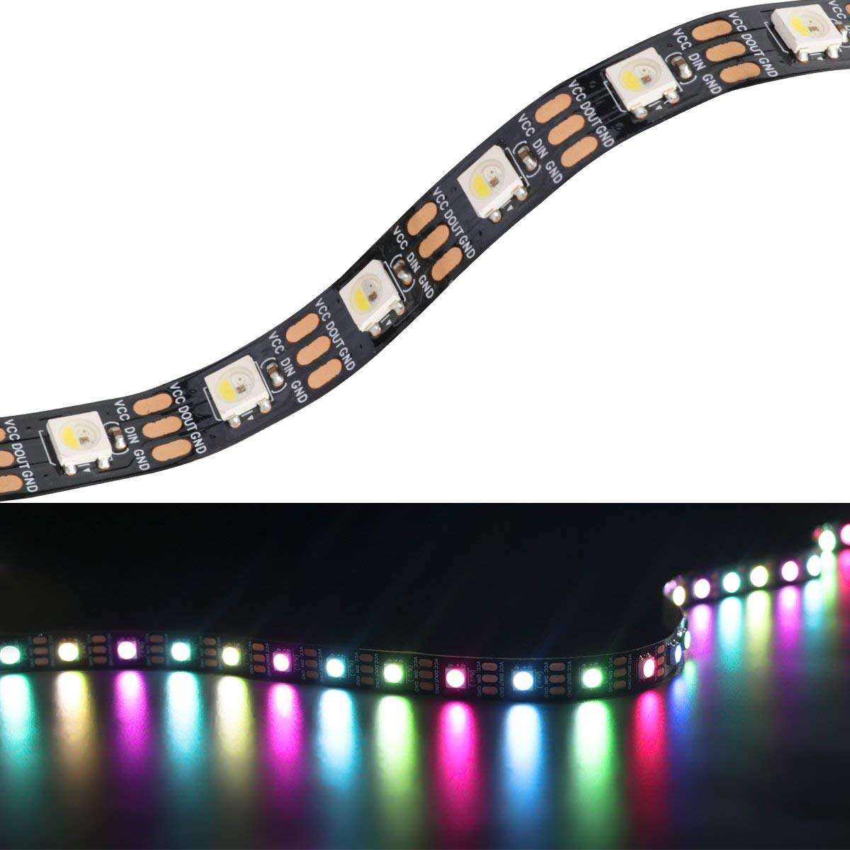 Mokungit SK6812 (Similar WS2812B) RGB+Cool White(6500K) 4 color in 1 Chip Dream Color LED Strip 16.4ft/5m 60leds/m Black PCB Individually Addressable Flexible Non-waterproof IP20 DC5V